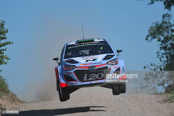 Hayden Paddon of New Zealand and John Kennard of New Zealand compete in their Hyundai Motorsport N Hyundai i20 WRC during Day One of the WRC Poland...