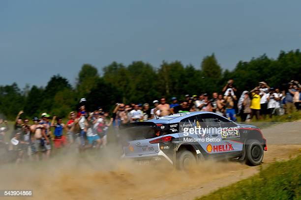Hayden Paddon of New Zealand and John Kennard of New Zealand compete in their Hyundai Motorsport WRT Hyundai i20 WRC during the Shakedown of the WRC...
