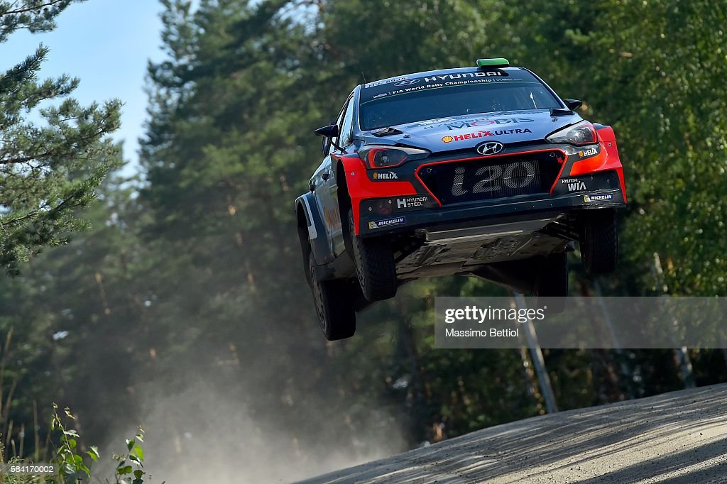 Hayden Paddon of New Zealand and John Kennard of New Zealand compete in their Hyundai Motorsport WRT Hyundai i20 WRC during the Shakedown of the WRC Finland on July 28, 2016 in Jyvaskyla, Finland.