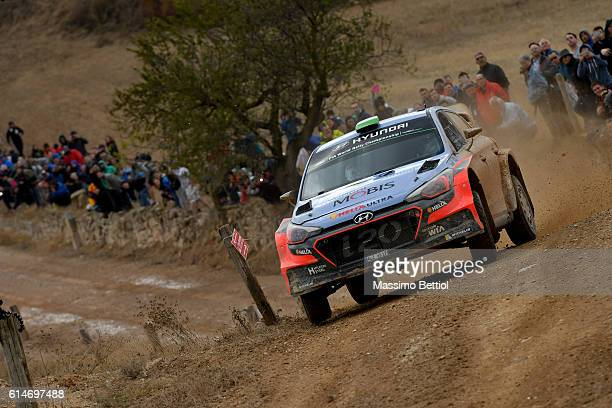 Hayden Paddon of New Zealand and John Kennard of New Zealand compete in their Hyundai Motorsport N Hyundai i20 WRC during Day One of the WRC Spain on...