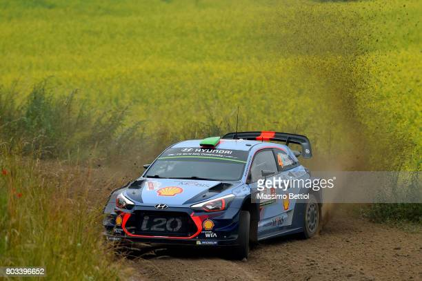 Hayden Paddon of New Zealand and Sebastian Marshall of Great Britain compete in their Hyundai Motorsport WRT Hyundai i20 WRC during the Shakedown of...
