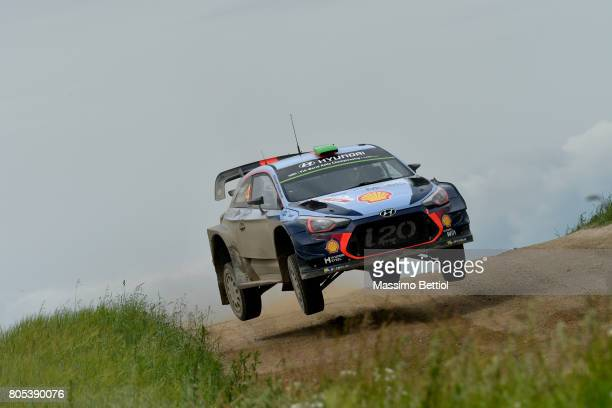 Hayden Paddon of New Zealand and Sebastian Marshall of Great Britain compete in their Hyundai Motorsport WRT Hyundai i20 WRC during Day Two of the...