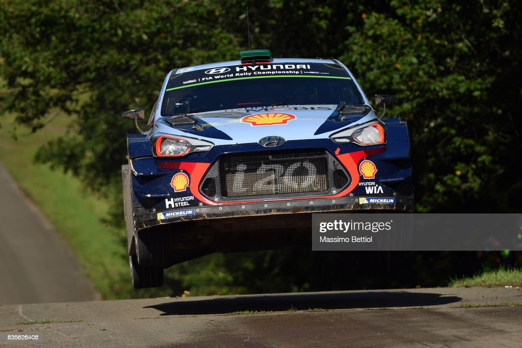 Hayden Paddon of New Zealand and Sebastian Marshall of Great Britain compete in their Hyundai Motorsport WRT Hyundai i20 Coupè WRC during Day Two of the WRC Germany on August 19, 2017 in Trier, Germany.