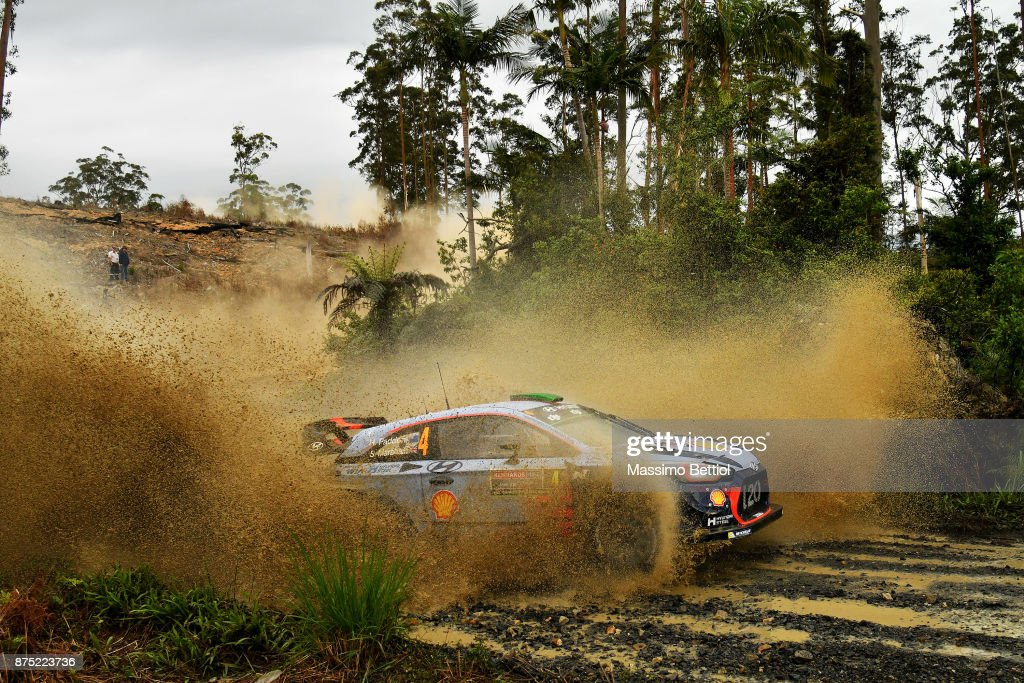 Hayden Paddon of New Zealand and Sebastien Marshall of Great Britain compete in their Hyundai Motorsport WRT Hyundai i20 coupe WRC during Day One of the WRC Australia on November 17, 2017 in Coffs Harbour, Australia.