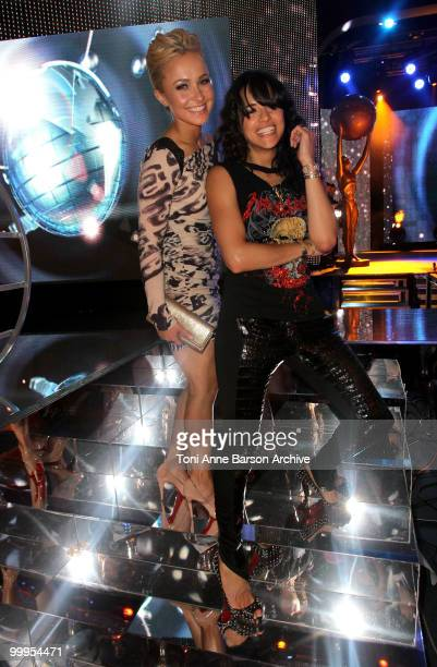 Hayden Panetierre and Michelle Rodriguez pose on stage during the World Music Awards 2010 at the Sporting Club on May 18 2010 in Monte Carlo Monaco