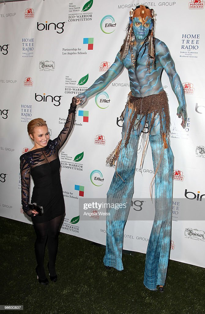 Hayden Panettiere and a Na'vi dancer attend the 'Global Home Tree' Earth Day VIP reception hosted by James Cameron at the JW Marriott Los Angeles at L.A. LIVE on April 22, 2010 in Los Angeles, California.