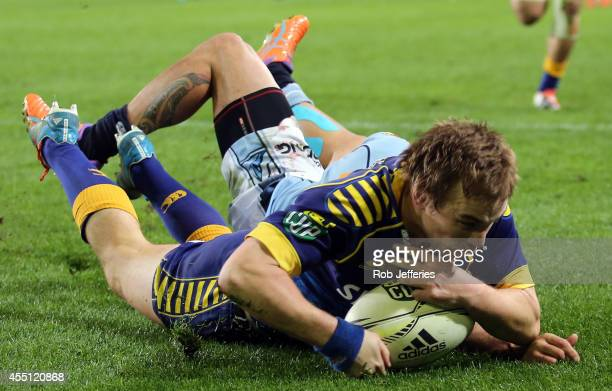 Hayden Parker of Otago scores a try during the round five ITM Cup match between Otago and Northland at Forsyth Barr Stadium on September 10, 2014 in...