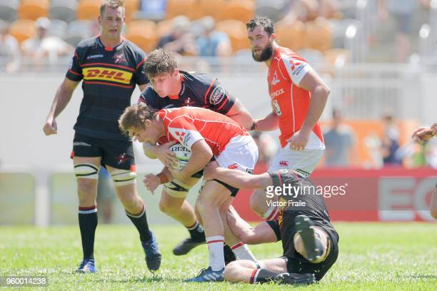 Hayden Parker of Sunwolves moves the ball up against Stormers during the Super Rugby match between Sunwolves and Stormers at Mong Kok Stadium on May...