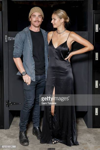 Hayden Quinn and Jax Raynor attend the LEE 'Stay Black' premium denim launch party on April 19 2017 in Sydney Australia