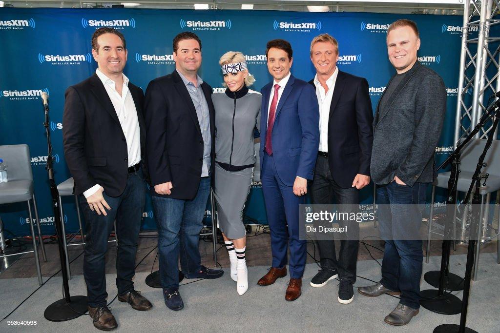 Hayden Schlossberg, Jon Hurwitz, Jenny McCarthy, Ralph Macchio, William Zabka, and Josh Heald at SiriusXM Studios on May 1, 2018 in New York City.