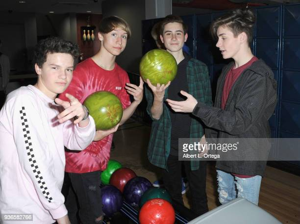 Hayden Summerall Conner Shane Caden Conrique and Mikey Tua attend the Birthday Party For Elam Roberson held at Pinz Bowling on March 21 2018 in Los...