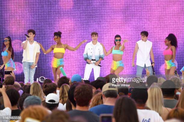 Hayden Summerall Johnny Orlando and Jacob Sartorius perform onstage with dancers during FOX's Teen Choice Awards 2019 on August 11 2019 in Hermosa...