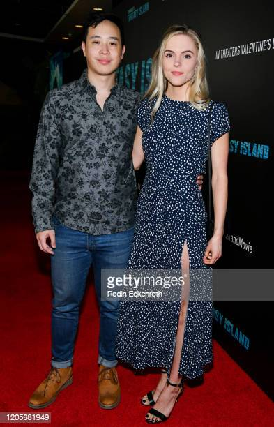 Hayden Szeto and Kari Perdue attend the Premiere Of Columbia Pictures' Blumhouse's Fantasy Island at AMC Century City 15 on February 11 2020 in...