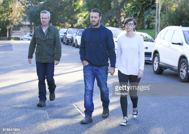 SYDNEY NSW Hayden Turner John Ruszczyk brother of Justine Damond and Katarina Ruszczyk arrive to speak to the media outside their house in Sydney New...