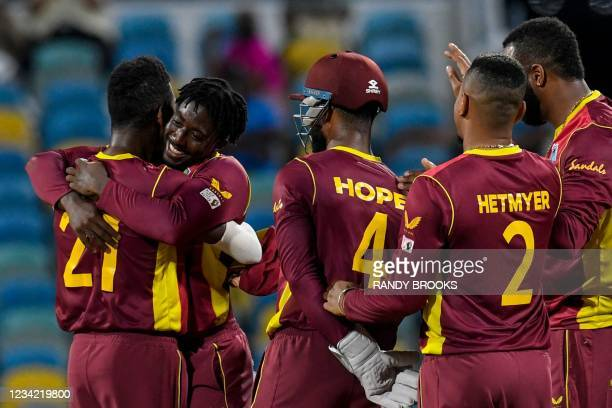 Hayden Walsh Jr. Of West Indies celebrates the dismissal of Alex Carey of Australia during the 3rd and final ODI between West Indies and Australia at...