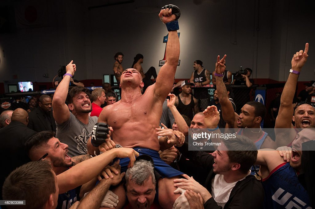 Hayder Hassan celebrates his victory over Vicente Luque during the filming of The Ultimate Fighter: American Top Team vs Blackzilians on February 27, 2015 in Coconut Creek, Florida.