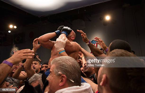 Hayder Hassan celebrates his victory over Vicente Luque during the filming of The Ultimate Fighter: American Top Team vs Blackzilians on February 27,...