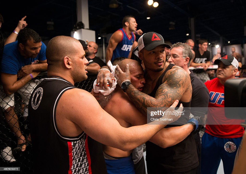 Hayder Hassan hugs teammates after his bout against Vicente Luque during the filming of The Ultimate Fighter: American Top Team vs Blackzilians on February 27, 2015 in Coconut Creek, Florida.
