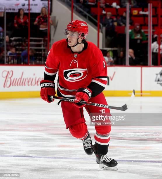 Haydn Fleury of the Carolina Hurricanes skates for position on the ice during an NHL game against the Edmonton Oilers on March 20 2018 at PNC Arena...