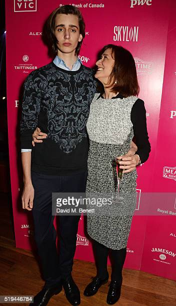 Haydn Gwynne and son Harrison Phipps attend the press night after party of The Caretaker at Skylon on April 6 2016 in London England