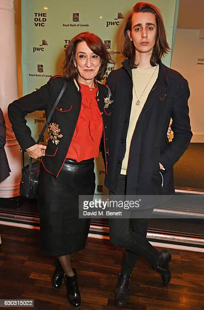 Haydn Gwynne and son Harrison Phipps attend the press night after party for Art at The Old Vic Theatre on December 20 2016 in London England