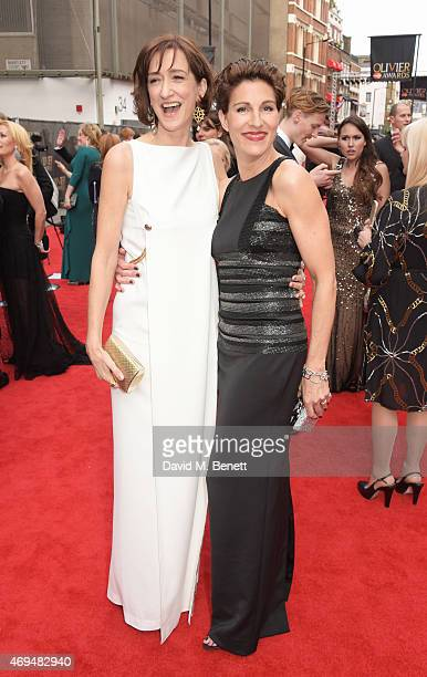 Haydn Gwynne and Tamsin Greig attend The Olivier Awards at The Royal Opera House on April 12 2015 in London England