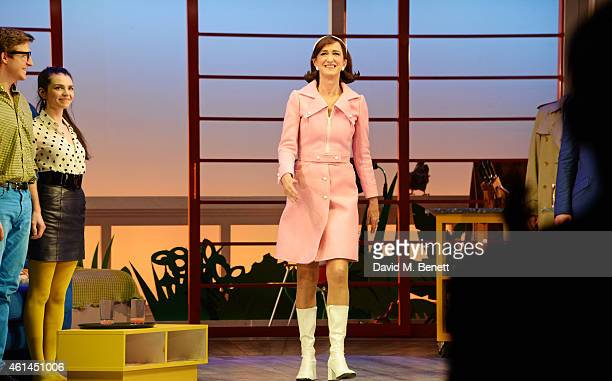 """Haydn Gwynne bows at the curtain call during the press night performance of """"Woman On The Verge Of A Nervous Breakdown"""" at the Playhouse Theatre on..."""