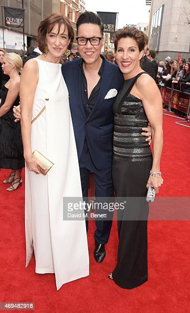 Haydn Gwynne Gok Wan and Tamsin Greig attend The Olivier Awards at The Royal Opera House on April 12 2015 in London England