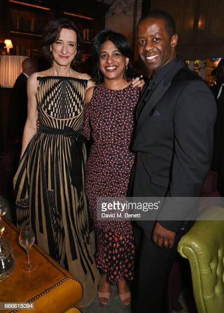 Haydn Gwynne Indhu Rubasingham and Adrian Lester attend The Olivier Awards 2017 after party at Rosewood London on April 9 2017 in London England
