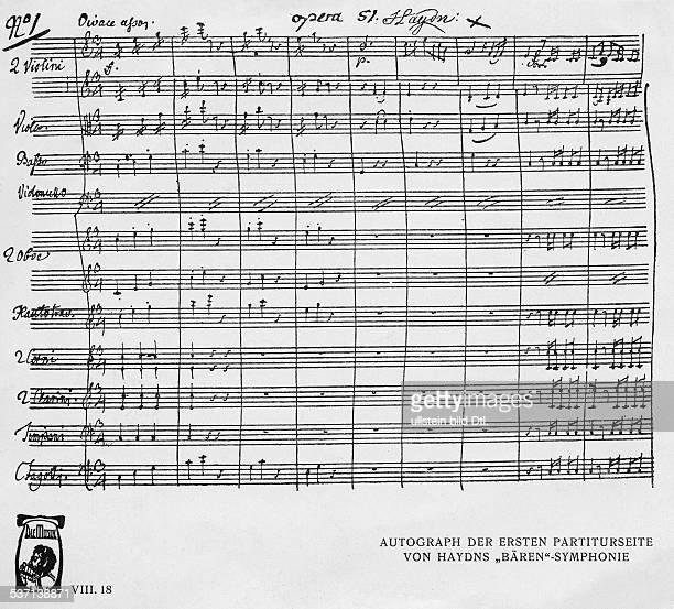 Haydn Joseph Komponist AT Faksimile der ersten Seite der Partitur von Haydns 'Baeren'Symphonie undatiert