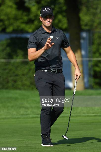Haydn Porteous of South Africa celebrates a putt on the 2nd green during round one of the Saltire Energy Paul Lawrie Matchplay at Golf Resort Bad...