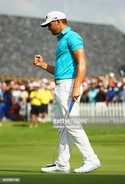 Haydn Porteous of South Africa celebrates victory on the 18th green on the East Course during day four and the final round of the Joburg Open at...