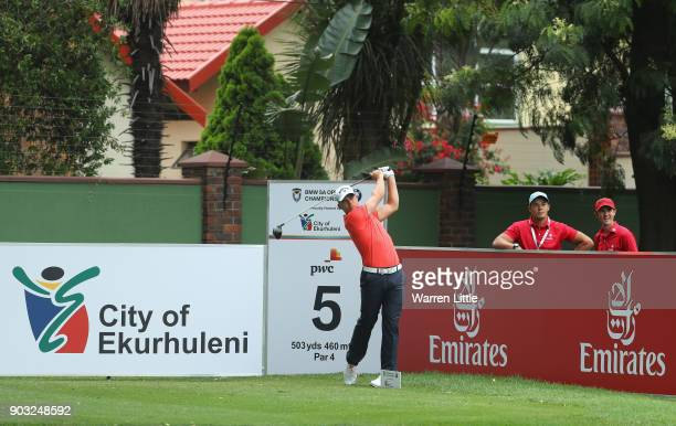 Haydn Porteous of South Africa plays a practie round ahead of the BMW South African Open Championship at Glendower Golf Club on January 10 2018 in...