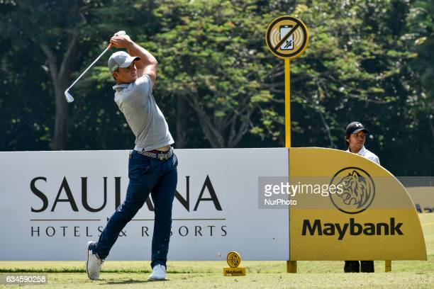 Haydn PORTEOUS of South Africa plays a shot during Day Two of the Maybank Championship Malaysia at Saujana Golf Club on February 10 2017 in Kuala...