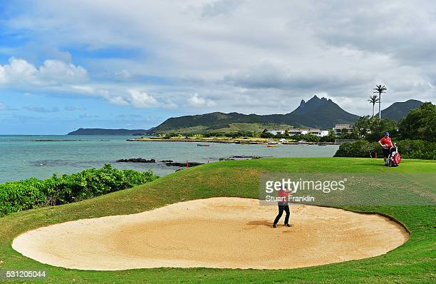 Haydn Porteous of South Africa plays a shot during the second round of AfrAsia Bank Mauritius Open at Four Seasons Golf Club Mauritius at Anahita on...