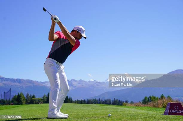 Haydn Porteous of South Africa plays a shot during the third round of The Omega European Masters at Crans-sur-Sierre Golf Club on September 8, 2018...