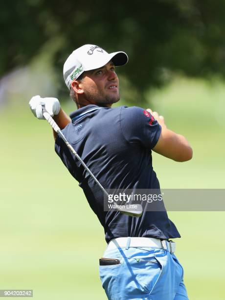 Haydn Porteous of South Africa plays his second shot on the 7th hole during day two of the BMW South African Open Championship at Glendower Golf Club...