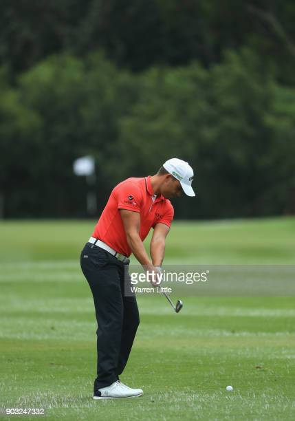 Haydn Porteous of South Africa swing sequence plays a practie round ahead of the BMW South African Open Championship at Glendower Golf Club on...