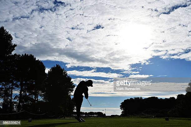 Haydn Porteous of South Africa takes his tee shot on hole 3 on day three of the Aberdeen Asset Management Paul Lawrie Matchplay at Archerfield Links...