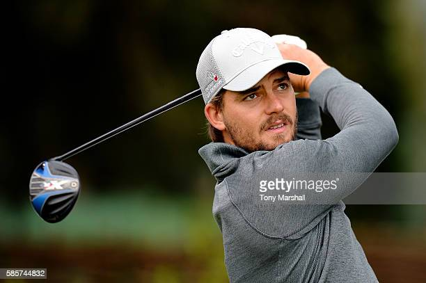 Haydn Porteous of South Africa tees off on hole 1 on day one of the Aberdeen Asset Management Paul Lawrie Matchplay at Archerfield Links Golf Course...