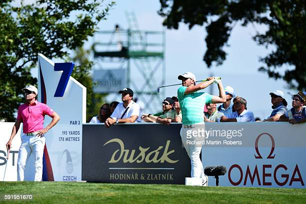 Haydn Porteous of South Africa tees off on the 7th hole during day two of the DD REAL Czech Masters at Albatross Golf Resort on August 19 2016 in...
