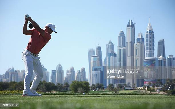 Haydn Porteous of South Africa tees off on the 8th hole during the final round of the Omega Dubai Desert Classic at the Emirates Golf Club on...