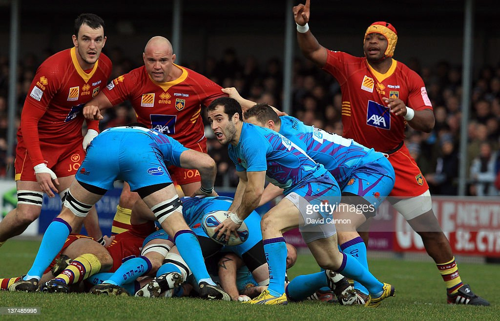 Haydn Thomas of Exeter Chiefs passes the ball out of a ruck during the Amlin Challenge Cup match between Exeter Chiefs and Perpignan at Sandy Park on January 21, 2012 in Exeter, England.