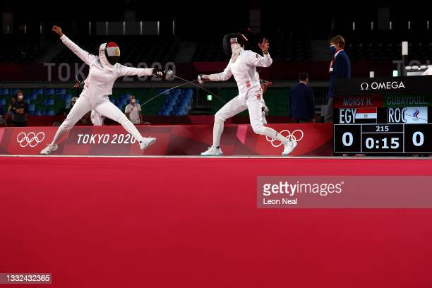 Haydy Morsy of Team Egypt and Gulnaz Gubaydullina of Team ROC compete during the Fencing Ranked Round of the Women's Modern Pentathlon on day...