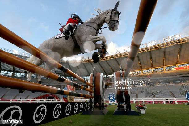 Haydy Morsy of Team Egypt riding Aerosmith competes in the Riding Show Jumping of the Women's Modern Pentathlon on day fourteen of the Tokyo 2020...