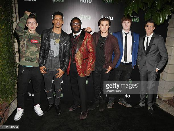 Hayes Grier Melvin Gregg Chad L Coleman Leo Howard Adam Hicks and Tyler Chase attend the Premiere Of Hulu's 'Freakish' Arrivals at Smogshoppe on...
