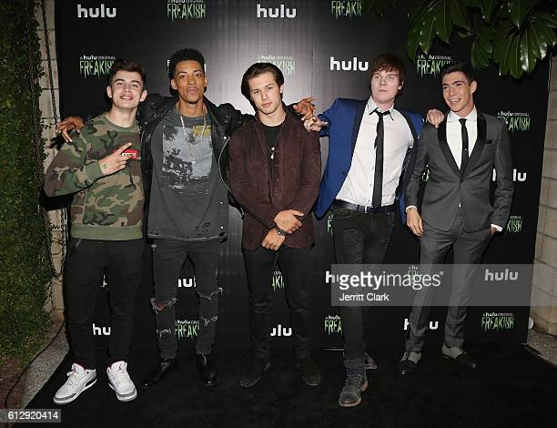 Hayes Grier Melvin Gregg Leo Howard Adam Hicks and Tyler Chase attend the Premiere Of Hulu's 'Freakish' Arrivals at Smogshoppe on October 5 2016 in...