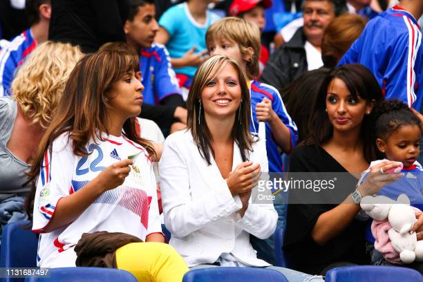 Hayet Abidal the wife of Eric abidal of France with Wahiba Ribery the wife of Franck Ribery during the FIFA World Cup match between France and Spain...