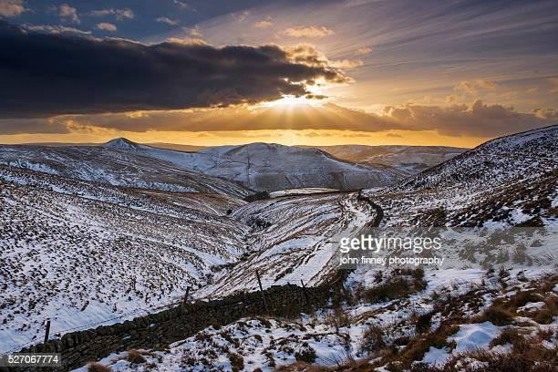 Hayfield winter sunset. English Peak District. UK. Europe.