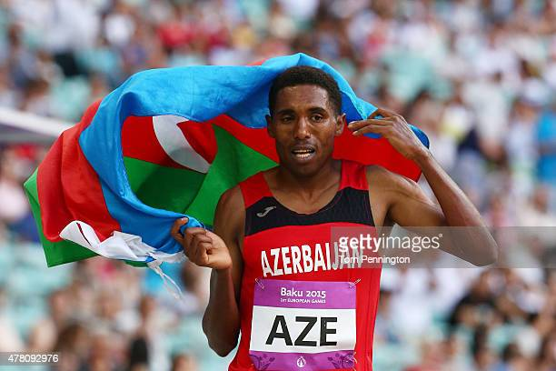 Hayle Ibrahimov of Azerbaijan celebrates as he wins the Men's 3000 metres on day ten of the Baku 2015 European Games at the Olympic Stadium on June...